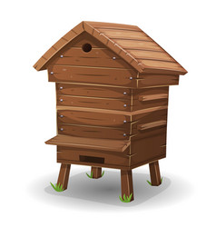 Wood hive for bees vector