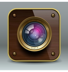 Wooden luxury photo camera icon vector image