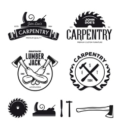 Carpentry emblems badges design elements vector image