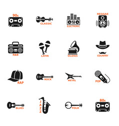 Musical genre web icons vector