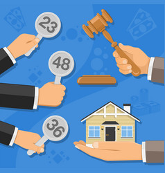 Sale of real estate at auction vector