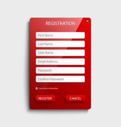 register web screen with red button template vector image