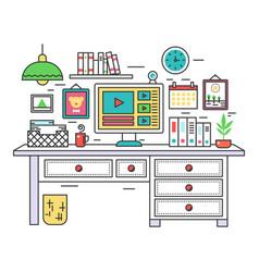Flat line design workplace desk creative office vector