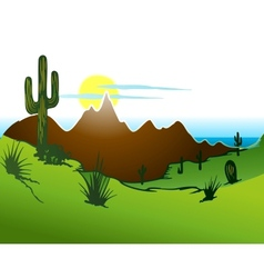 Cactus saguaro mountains and river vector