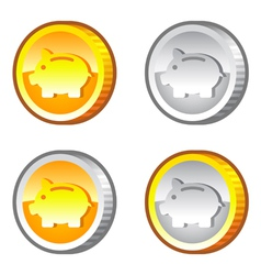 Coins with piggy bank sign vector