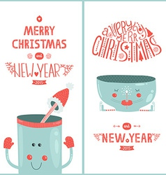 Christmas greeting card and new year with cute mug vector