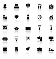 Art and creation icons with reflect on white vector