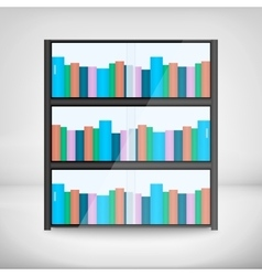Shelves with colorful books vector