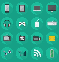 Technology flat icon set vector