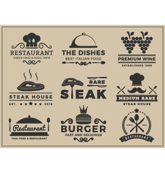 Set of logo and insignia design for Restaurant vector image