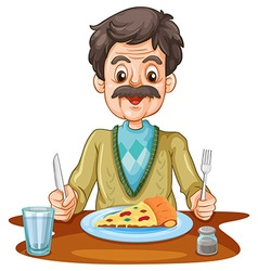 Old man eating pizza on the table vector