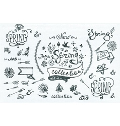 Hand-sketched spring design elements vector
