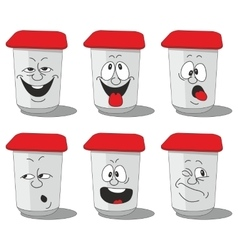 Set smiling plastic cups 010 vector