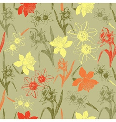 Vintage daffodil flowers pattern vector