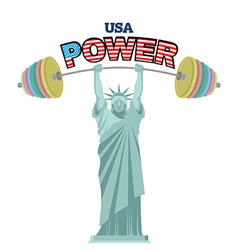 Usa power powerful statue of liberty barbell bench vector
