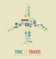 Airplane silhouette with travel flat icons travel vector