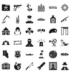 Antiterrorist struggle icons set simple style vector