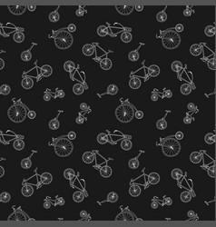 bicycle seamless pattern in doodle style hand vector image