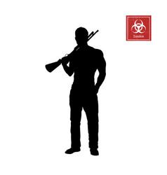 Black silhouette of man with shotgun vector