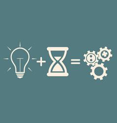 Business concept idea bulb plus time gears vector