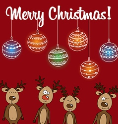 Card rudolph and other reindeerd with christmas vector
