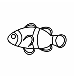 Cute clown fish icon outline style vector