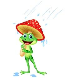 Cute frog wearing rain gear under mushroom vector image