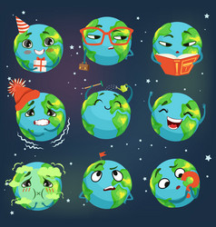 Cute funny world earth emoji showing different vector