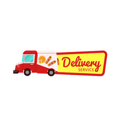 Fast food delivery isolated badge vector
