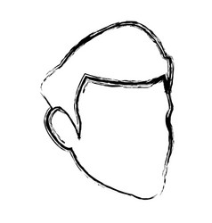 head man silhouette contour hair profile vector image
