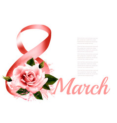 march with red rose international womens vector image vector image