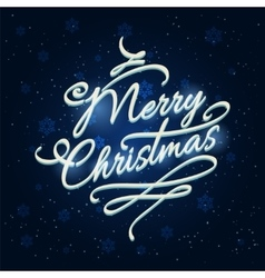 Merry Christmas lettering with frozen effects vector image