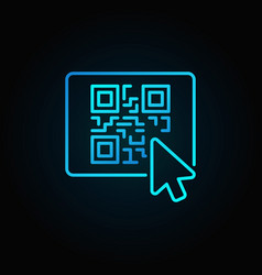 mouse click on button with qr code blue vector image vector image