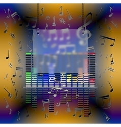 Music design with equalizer and frame vector