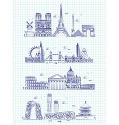 popular word cities outline panorama on notebook vector image vector image