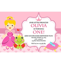 Princess Birthday Party Invitation vector image vector image