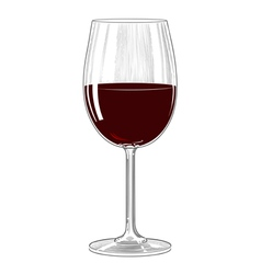 Red wine glass in vintage engraving style vector image