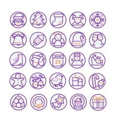 Set of thin line icons for christmas and vector