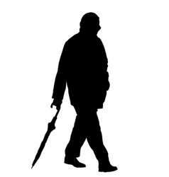 Silhouettes of man walking with an umbrella vector