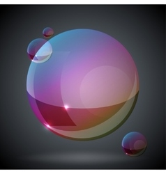 Soap bubble on black background two vector