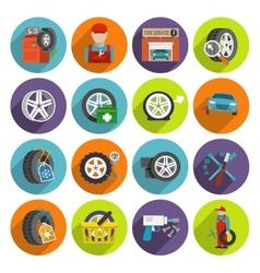 Tire service icon set vector image vector image