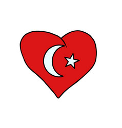 turkey isolated heart flag on white background vector image