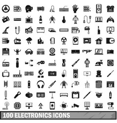 100 electronics icons set simple style vector
