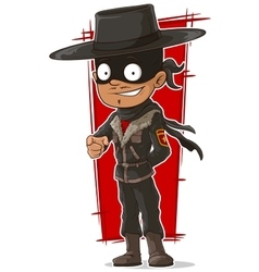 Cartoon cool hero in mask and hat vector