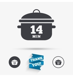 Boil 14 minutes cooking pan sign stew food vector