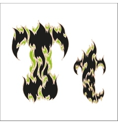 Fiery font black and green letter t on white vector