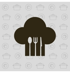 Chef hat and cutlery emblem image design vector