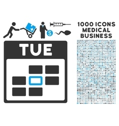 Tuesday calendar grid icon with 1000 medical vector