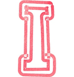 Capital letter i drawing with red marker vector