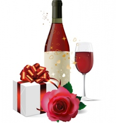 wine gift box and rose vector image